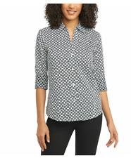 1cb59e865d9 Foxcroft Women's Wrinkle Performance Blouse XL Black/white Chain