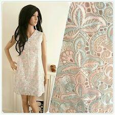 Vintage 60s Pale Blue Pink Embroidered Floral Shift Mini Dress Mod Boho 8 36