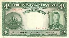Bahamas 4 Shillings Currency Banknote 1936
