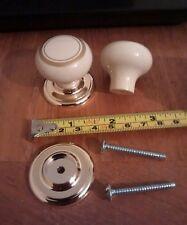 2x Beige Gold Plastic Door Knobs handle Cupboards/Cabinets & Screws 35mm
