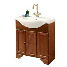 Nuovo mobile bagno noce country cm 75 con 3 ante, lavabo classico in ceramica