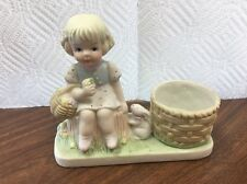 1983 Bisque Porcelain Girl Bunny Easter Figurine Candle Holder W.A Taiwan ROC C2
