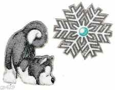"""2.5"""" WHIMSICAL WOLF WOLVE SNOWFLAKE  CHRISTMAS  HOLIDAY FABRIC APPLIQUE IRON ON"""