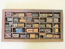 Letter Press Type Drawer With 45 Type Block Letters, Numerals And Symbols