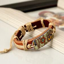 Leather Festival Holiday Peace Love Hippy Bracelet - Adjustable Size