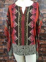 Vince Camuto Women's Top Blouse Size XS Tribal Brown Orange Pink Semi Sheer