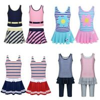 Kids Girls Swimsuit Stripe Swimwear Children Bathing Suit Rash Guard Beachwear
