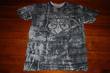 Men's Affliction Flaming Cross Cement Print Muscle T-Shirt (XX-Large)