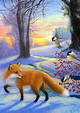 Red fox chickadees birds berries winter snow landscape OE ACEO print of painting