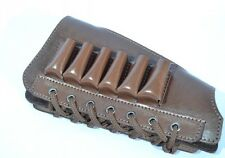 Shotgun Cartridge Ammo Bandolier Holder Leather w/ 6 Pockets 100% Leather 20 GA