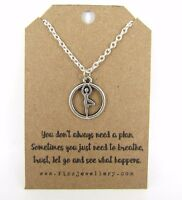 Yoga Tree Pose Silver Plated Necklace Inspirational Message Card Yogi Gift