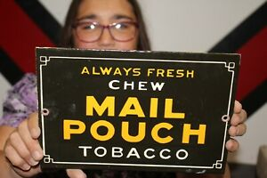 Chew Mail Pouch Always Fresh Chewing Tobacco Gas Oil Porcelain Metal Sign