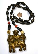 19C Chinese Black Coral Bead Copper Pendant Qilin Figure Figurine Necklace
