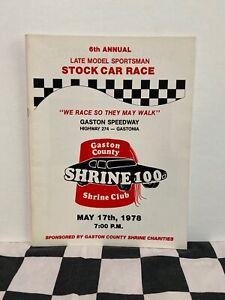 1978 Gaston County NC Shrine Club Shrine 100 Late Model Sportman Race Program