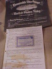 WWII USN VETERANS DISCHARGE / CERTIFICATE OF SERVICE - USS WAUKESHA