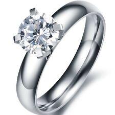 CZ Crystal Engagement Wedding Ring Stainless Steel SZ 5-8 Swarovski Bridal Party