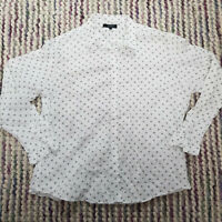 T.M. LEWIN Buttoned Shirt Size 18 White Polka Dot Fitted Long Sleeve Workwear