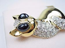 Enamel and Swarovski Crystal 0311 D'Orlan Gold Plated Cat Brooch with