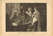 Library, The Latest Novel, Librarian, Books, Vintage 1881 German Antique Print