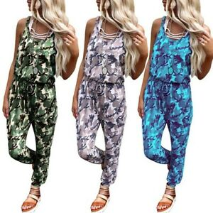 Casual Tracksuit Lounge Overalls Playsuit Rompers Wear Womens Camouflage