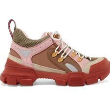 Gucci Flashtrek Journey Pink Beige Brown Low Top Hiker Boot Trainer Sneaker 36.5