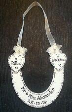 ** HANDMADE PERSONALISED - wedding wooden horseshoe- Mr & Mrs ....-BEAUTIFUL ***