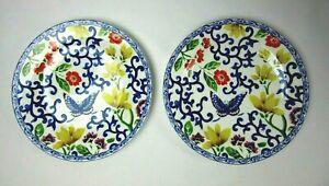 """2X Lauren Ralph Lauren Mandarin Blue Plate Salad Dessert 9"""" Flowers Butterfly"""