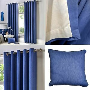 Fusion Denim SORBONNE Simple 100% Cotton Lined Eyelet Ring Top Curtains Pair