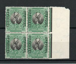 SOUTH AFRICA SG 07a 1929 OFFICIAL. STOP AFTER OFFISIEEL VARIETY  IN BLOCK MNH