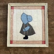 "Sunbonnet Sue Framed window 16 x 17"" Vintage handmade quilt block applique wall"
