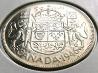 1946 Canada Fifty Cent 50 Cent Half Dollar Canadian George VI Whizzed Coin R497
