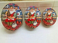 3 Christmas Nesting Gift Boxes with Lids Elf Holiday Holy - Oval  EUC