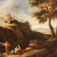 Dipinto quadro paesaggio olio su tela con cornice stile antico personaggi 900