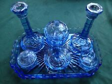 VTG DECO c1930s BLUE PRESSED GLASS VANITY 9 PIECE SET incld CANDLE STICKS EXC
