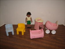 Little Tikes Dollhouse Lot African American Mom Stroller Highchair Bed & Chairs
