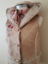Marks & Spencer Girls Shaggy Shearling Fur Stud Duffle Gilet Age 13-14 Years