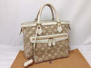 Auth Louis Vuitton Monogram Denim Saba Cabas MM M93495 Beige Tote Bag 7D110150N""