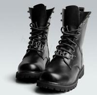 Men's Leather Military Boots Lace Up Punk Combat Motorcycle Boots Ankle Boots Sz