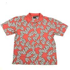 VINTAGE PING Mens Hawaiian Polo Red Golf Shirt UV PROTECTION Nylon Blend Size L