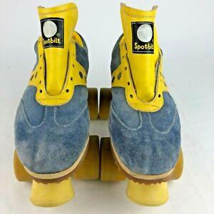 Sure-Grip Roller Skates Size 7 Blue/Yellow Suede Spot-Bilt Jogger Vintage