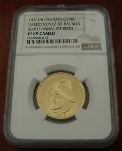 Panama 1975FM Gold 100 Balboas NGC PF69 Cameo 500th Anniversary- Birth of Balboa