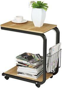 Portable Mobile Over Bed Table Bedside Laptop Workstation Desk w/ Wheel / Basket