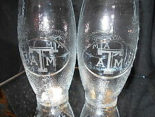 TEXAS A&M AGGIES  2 ETCHED LOGO FOOTBALL GLASSES 23oz NEW