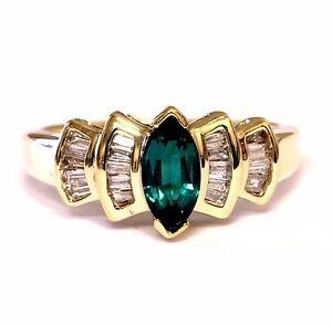 10k yellow gold .40ct SI1 H diamond Chatham lab created emerald 3g estate ring 6