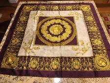 """Silk Square Scarf Medusa Purple White Gold 33"""" X 33"""" Made In Italy"""