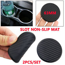 2Pcs Car Pickup Dashboard Water Cup Slot Non-Slip Rubber Mat Carbon Fiber Look