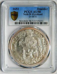 Netherlands West Friesland lion dollar 1651 PCGS AU58