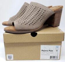 Toms Womens sz 11 Majorca Mule Desert Taupe Suede Open Toe Perforated Block Heel