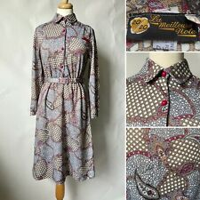 Vintage 1980s Does 40s Pink Grey Paisley Belted Tea Dress Size S 8 10