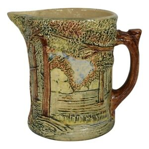 Weller Pottery Forest 1920s High Glaze Scenic Pitcher